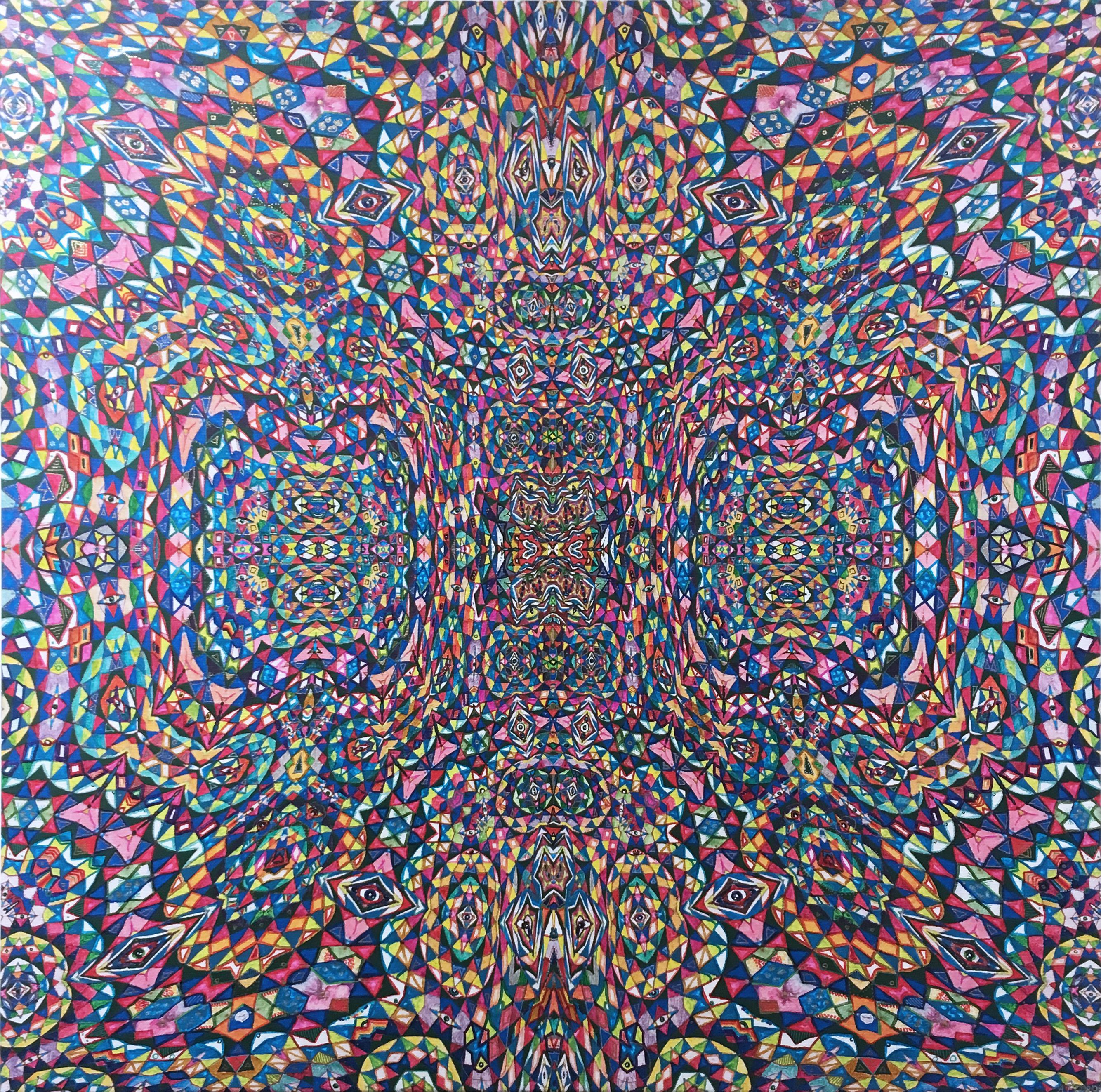 Totem, 2020, acrylic, oil, marker, liquid gold leaf, op-art, pattern, red, blue