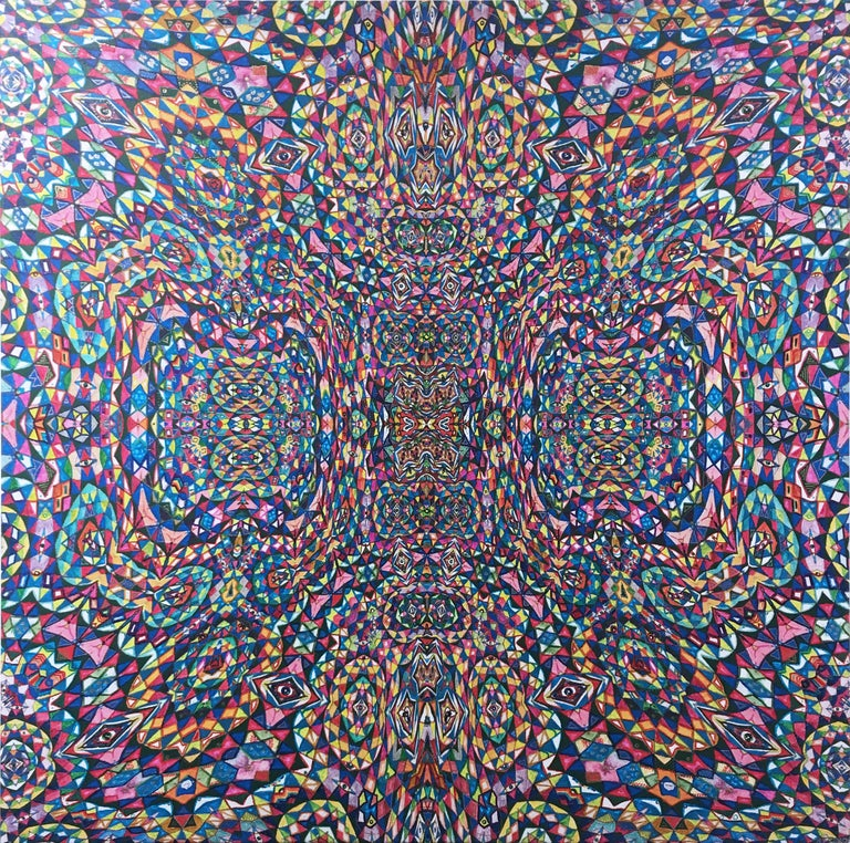 Totem, 2020, acrylic, oil, marker, liquid gold leaf, op-art, pattern, red, blue - Mixed Media Art by Alex Tea