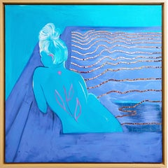 Everything I Am Is Yours, 2020, blue, acrylic, lime wash on linen, figurative