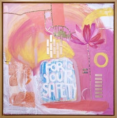 Eat Fruit, 2020, pink, orange, acrylic, lime wash on linen, text, floral, mirror