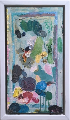 Just A Mess, 2018, acrylic, oil, pastel, panel, green, pink, abstract, frame