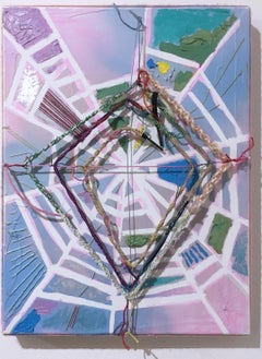 Little Pink Web, 2020, acrylic, oil, pastel, panel, blue, pink, abstract, yarn