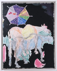 Imaginary Horse, 2020, acrylic, oil, pastel, canvas, black, blue, pink, abstract