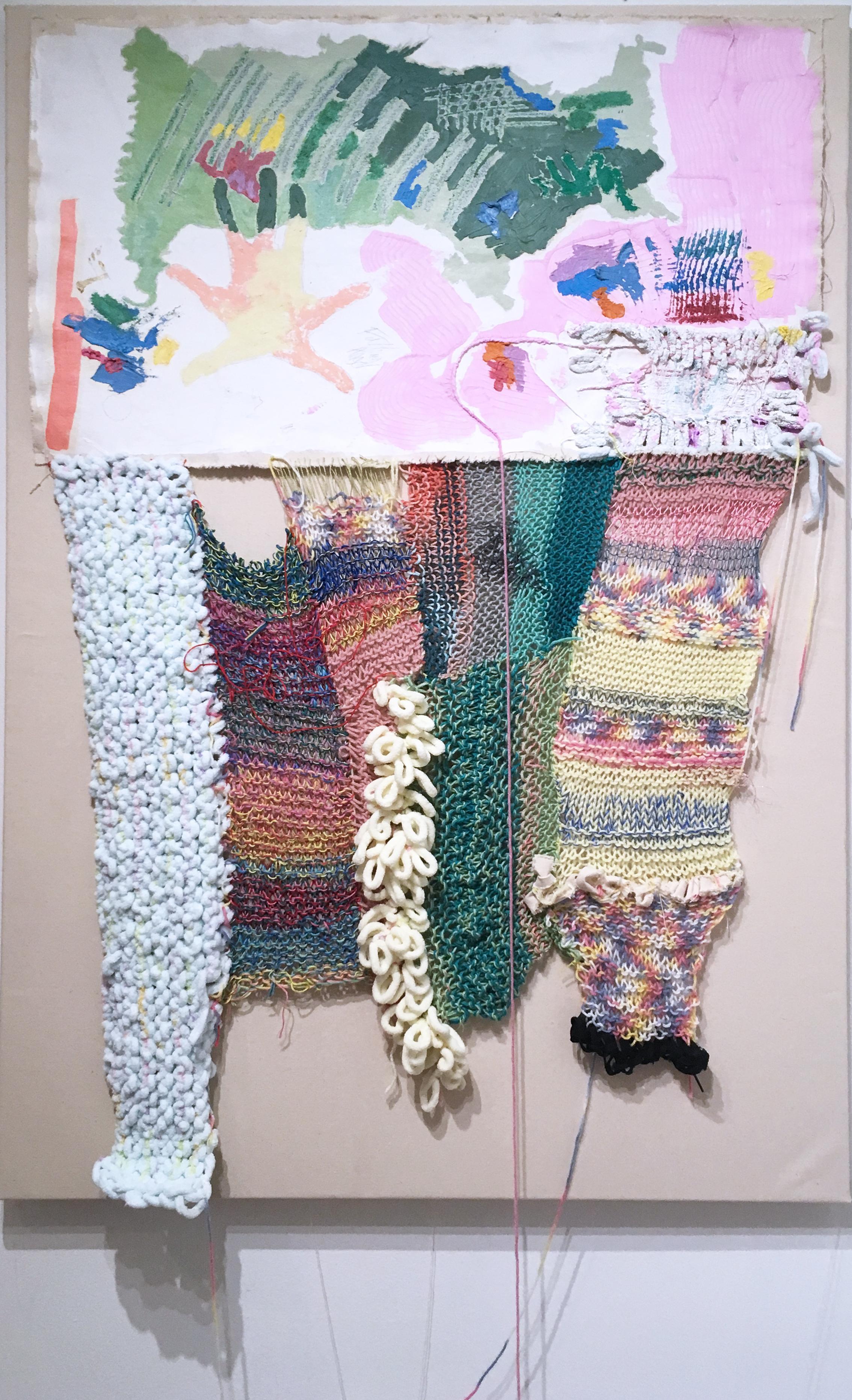 Falling Angel, 2020, acrylic, oil, canvas, yarn, thread, green, pink, abstract