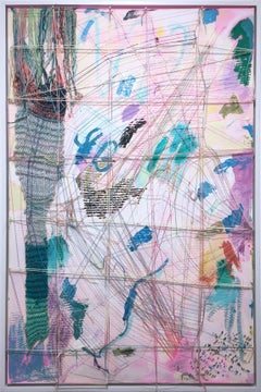 Half Web in Pink, 2020, acrylic, oil, canvas, yarn, thread, pink, abstract