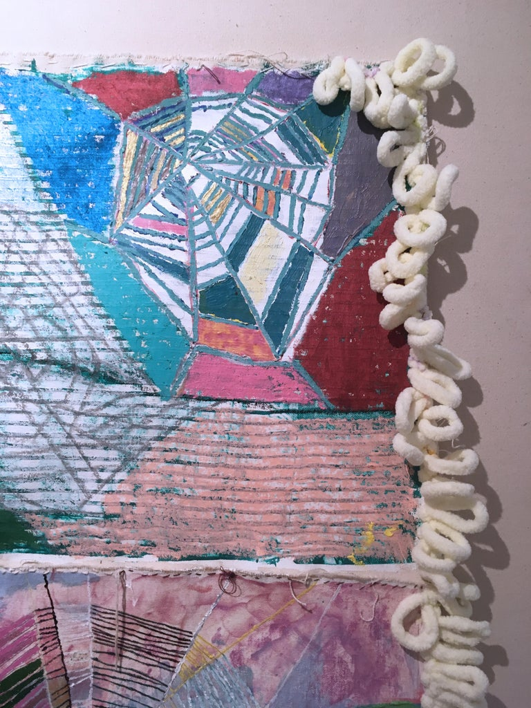 The Sorcerer, 2020, acrylic, oil, canvas, yarn, thread, green, pink, abstract For Sale 4
