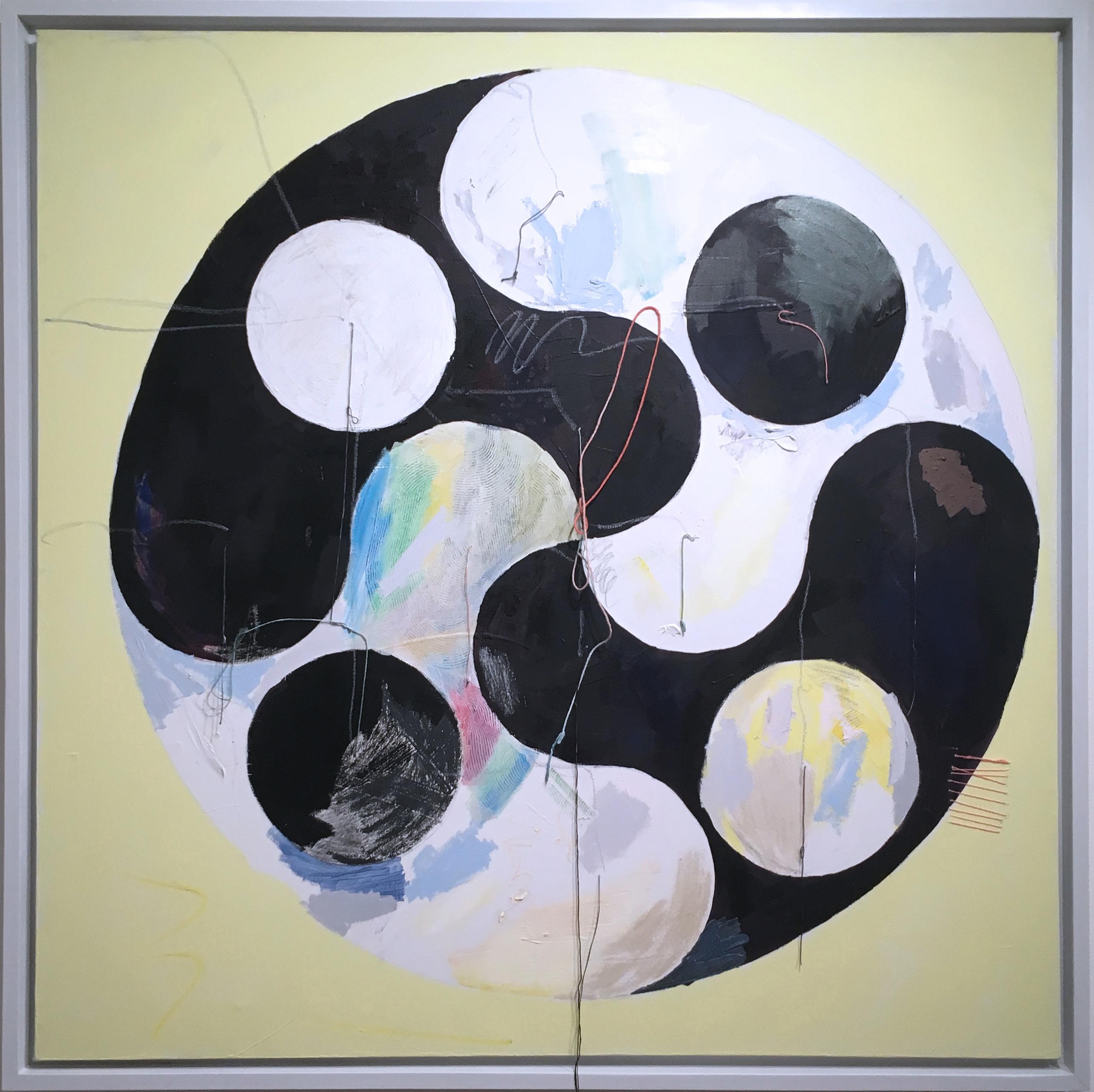 Yin Yang, 2020, acrylic, oil, canvas, yarn, thread, black, yellow, abstract