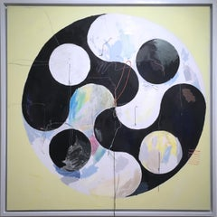 Yin Yang, 2020, acrylic, oil, canvas, yarn, thread, black, yellow, abstract