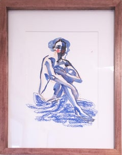 Blue Velvet, 2019, watercolor, oil pastel, blue, nude, paper, figurative, framed