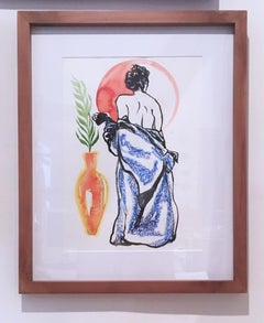 Blood Red Sentimental Mood, 2019, ink, oil pastel, nude, figurative, framed