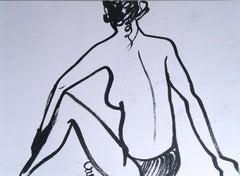 Twist & Curl, 2019, ink on paper, nude, figurative, black and white