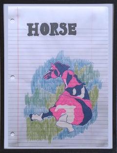 Horse, 2020, gel pen on paper, figurative, drawing, framed, pink, blue, white