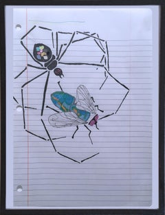The Spider and the Fly, 2020, gel pen paper, figurative, drawing, framed, web