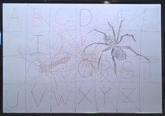 Alphabet Web, 2020, gel pen on paper, figurative, drawing, text, framed, web