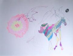 Wild Life, 2020, gel pen, paper, figurative, drawing, horse, flower, bird, pink