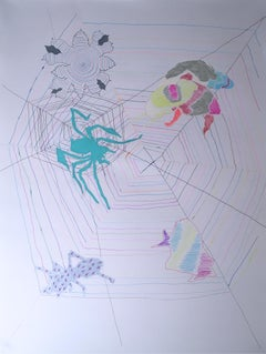 Fish Net, 2020, gel pen, paper, figurative, drawing, pink, spider, web, ant