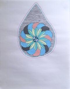 Teardrop Floral, 2020, gel pen, green, abstract, drawing, pink, pattern, blue