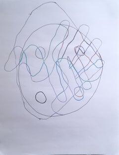 Hand Over Hand, 2020, gel pen, drawing, pink, pattern, hand, yin yang, blue
