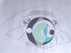 Ode to Bob Lazar, 2020, gel pen, green, drawing, pink, ufo, science fiction, eye