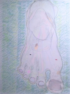 Big Foot, 2020, gel pen, paper, figurative, drawing, pink, figurative, ants