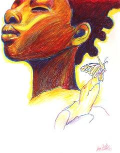 Fire (Tortoise Spirit), 2018, figurative, orange yellow, drawing, tribal, MarYah