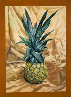 """Colonial Luxury"" pineapple fruit still life oil painting. paper mounted on wood"