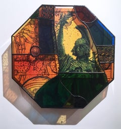 Earth People, 2020, stained glass, acrylic, canvas, octagon, statue, orange