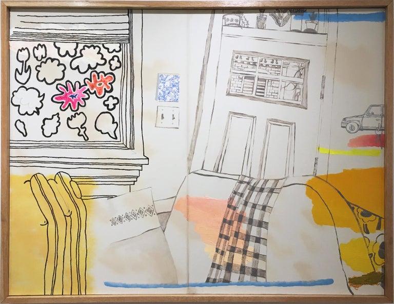 Max Vesuvius Budnick Still-Life Painting - Lounge, large oil painting, figurative, interior, peach, pinks, yellows, oranges
