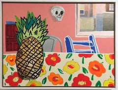 Pineapple Sunset, oil painting, interiors, bright, neon, pink, orange, yellow