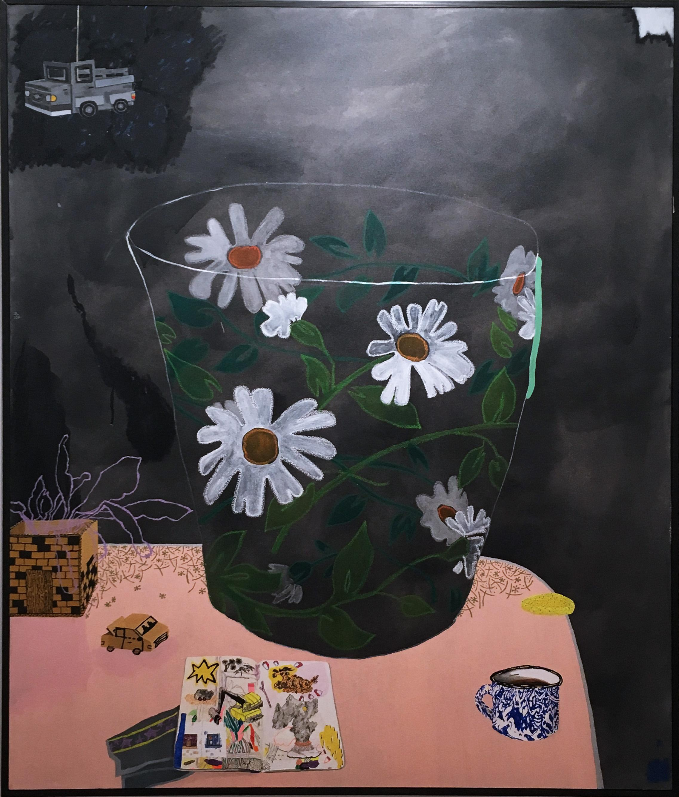 Big Cup, still life oil painting, interior, daisies, kitchen, coffee, sketchbook