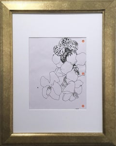 3 Hole Punch Orchids, black and white, pink, floral, pen on paper, gold frame
