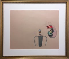 To-Go, still life, pink, graphite, pastel, paper, gold frame, cup, chair, table