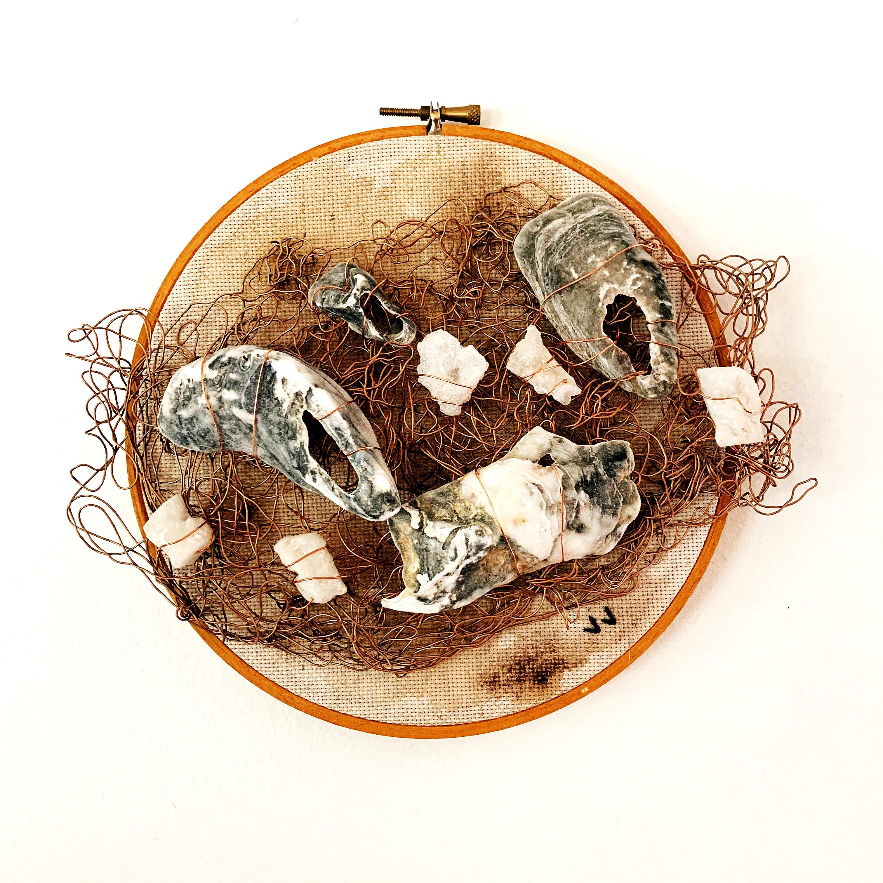 Sunsoak, 2020, wire embroidery, vintage bamboo hoop, oyster shells, earth tones