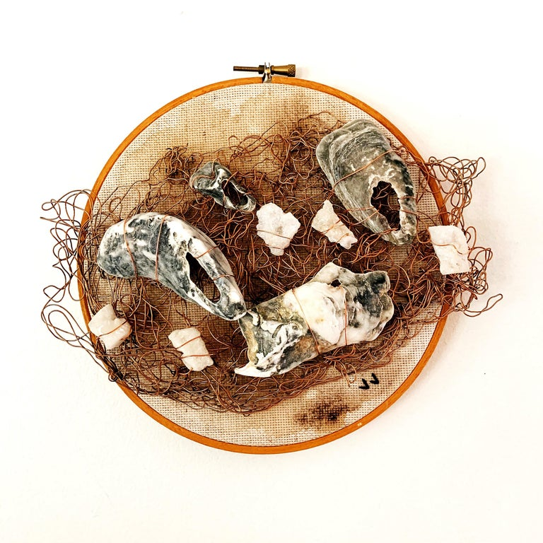 Sunsoak, 2020, wire embroidery, vintage bamboo hoop, oyster shells, earth tones - Mixed Media Art by Jacie Jane D'Agostino