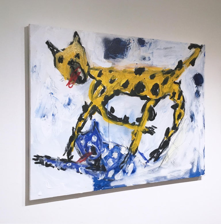 It's All Horseplay & Ashtrays, 2020 - Gray Animal Painting by Kyle Orlando