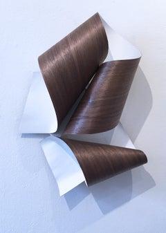 Curve 02, minimalist wall sculpture, geometric abstract form, walnut wood ribbon