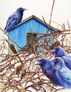 The Calling, Bower birds, drawing, framed work on paper, blue house, thicket