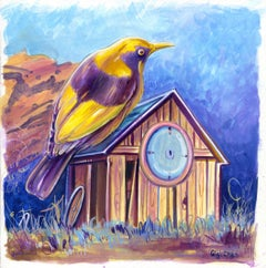 Settle In, yellow Bower bird, landscape drawing, house, framed work on paper