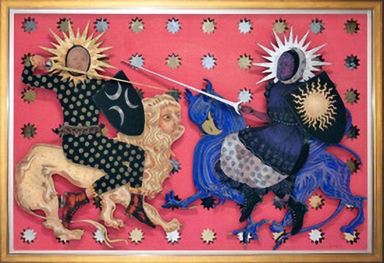 THE DUEL, 2017, gold leaf, silver leaf, laser cut, figurative, sun, moon, pink - Mixed Media Art by Deming King Harriman