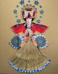 Fire Goddess, gold, red & blue painting and collage relief, figurative portrait
