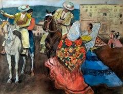 Pilgrimage, Ricardo Opisso, 70's, Gouache on paper