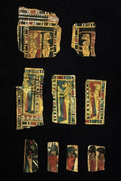 Set of Egyptian cartons with figures of the four gods. c. 300 a. C.