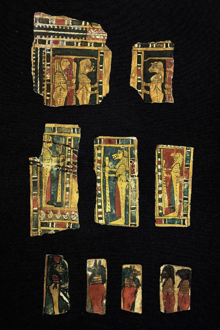 Set of Egyptian cartons with figures of the four gods. c. 300 a. C. - Painting by Unknown