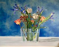 "Bouquet with Aalto Vase; Ora Sorensen Oil on canvas 46 1/4""x 60"""