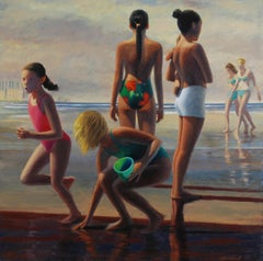 """ Day Trippers""   David Ahlsted  Beach 36 x 36"".  "" Jersey Shore Beach"