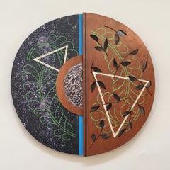 "Earth Series III  Charlotte Lees  Cherry Wood, Metal, Paint 16"" x16"" x1"""