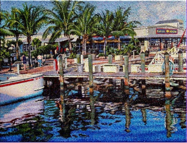 """Eddie Mitchell Landscape Painting - """" A Magical Morning""""  Florida Boats at Dock, Impressionism """" In Stock"""""""