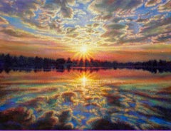 """Resplendent and Redolent Refections""  Sunset Water Eddie Mitchell Impressionist"