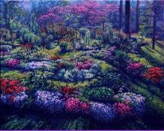 """""""When Sunshine Smiles""""   Flower Garden Beautiful Impressionism Eddie Mitchell"""