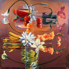""" Fruit & Flowers""  David Ahlstedt, 60 x 60"", Still life  w Lilies and fruit,"